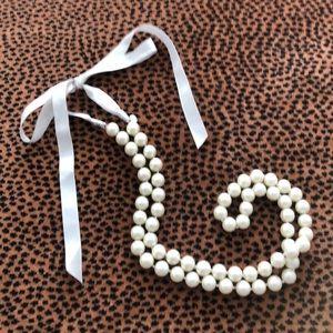 Vintage JCrew Pearl Ribbon Tie Necklace